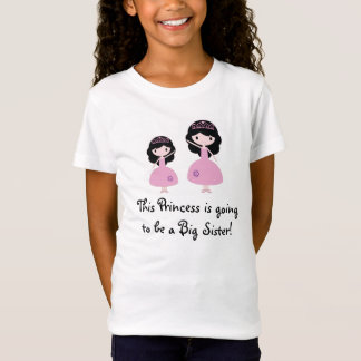 Camiseta Princesa rosada hermana grande - pelo negro