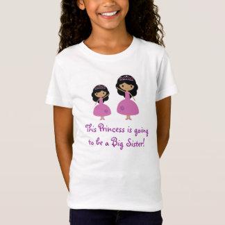 Camiseta Princesa rosada hermana grande - piel oscura