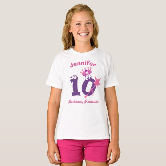 Camiseta Princesa T-shirt 10 a 19 del feliz cumpleaños