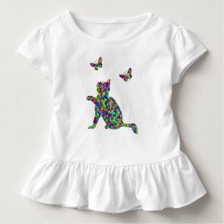 Camiseta prismática colorida de los niños del gato