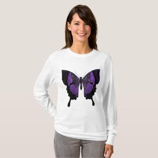 Camiseta púrpura de la mariposa de la manga larga