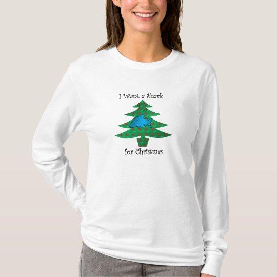 Camiseta Quiero un tiburón para el navidad