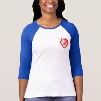 Camiseta Raglán de la manga de la división 3/4 de las