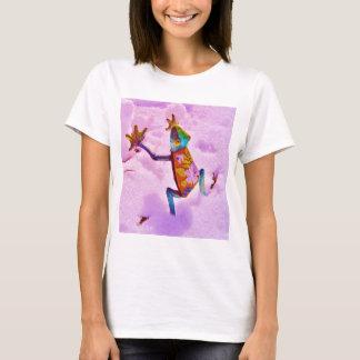 Camiseta Rana del arco iris de la flor en nieve del color
