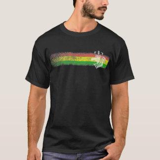 Camiseta Rayas del reggae de Rasta con el león coronado