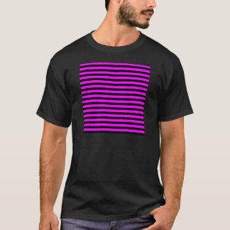 Camiseta Rayas finas - negro y fucsia