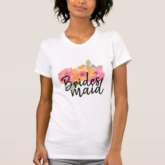 Camiseta Regalo floral de la dama de honor del boda de la