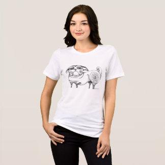 Camiseta relajada negra y blanca del bosquejo
