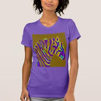 Camiseta Resplandor púrpura del arte de la cebra