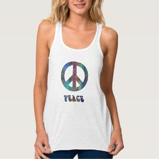 Camiseta retra de la paz del leopardo del teñido