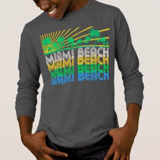 Camiseta retra de Miami Beach la Florida del verde