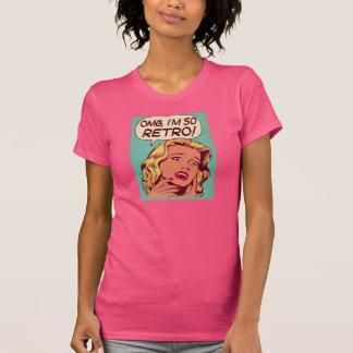 camiseta, retra, mujeres, fucsia camiseta