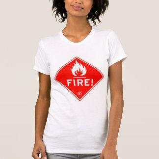 Camiseta Riesgo de incendios rojo de la señal de peligro de