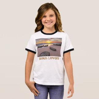 Camiseta Ringer Amantes de la playa - tema de la estación de