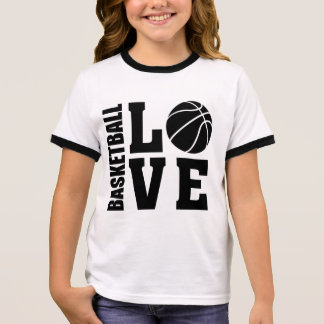 Camiseta Ringer Amor del baloncesto de los niños, baloncesto