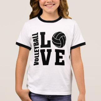 Camiseta Ringer Amor negro del voleibol, voleibol