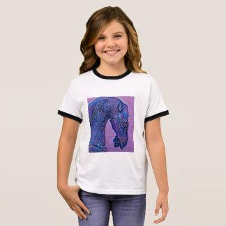 Camiseta Ringer Caballo púrpura del mosaico