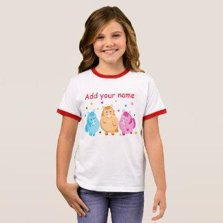 Camiseta Ringer Dibujo animado lindo de pequeños potros coloridos,