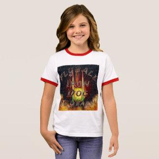 Camiseta Ringer ¡Perro del hierro de Flamz Flyball - 10 años de