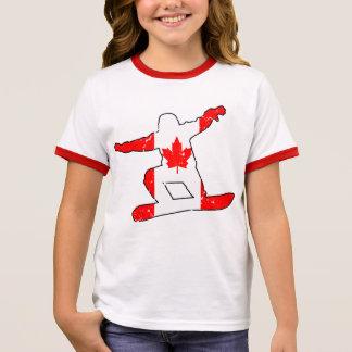 Camiseta Ringer SNOWBOARDER de la hoja de arce (negro)