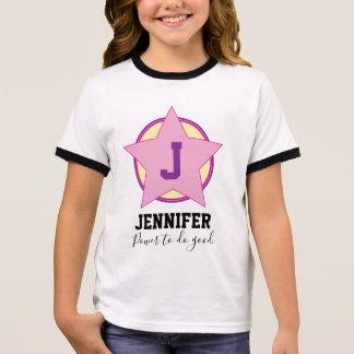 Camiseta Ringer Super héroe personalizado del chica con inicial y