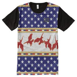 Camiseta roja de las estrellas de Eagle calvo de