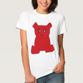 Camiseta roja de las mujeres del oso
