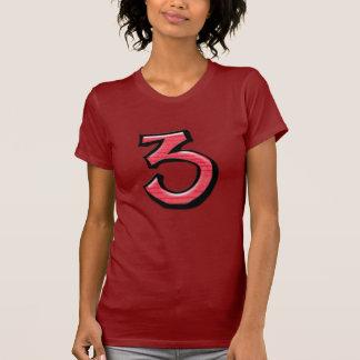 Camiseta roja de las señoras de los números 3