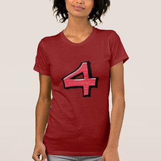 Camiseta roja de las señoras de los números 4