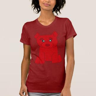 Camiseta roja del rojo de las mujeres del oso