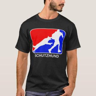 camiseta roja y azul del schutzhund del logotipo