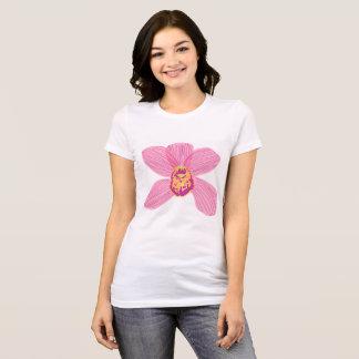 Camiseta rosada de la orquídea del cymbidium