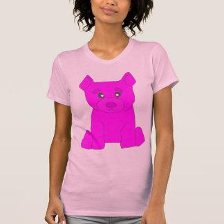 Camiseta rosada de las mujeres rosadas del oso