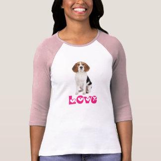 Camiseta rosada de las señoras del perro de