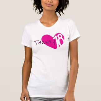 Camiseta rosada de veinte 18 del amor señoras del