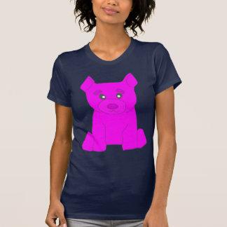 Camiseta rosada del azul de las mujeres del oso