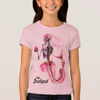 Camiseta rosada del esqueleto de la sirena de los