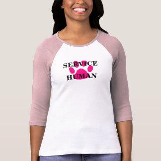 Camiseta rosada HUMANA de la manga de la impresión