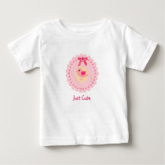 Camiseta rosada linda del pájaro para la niña