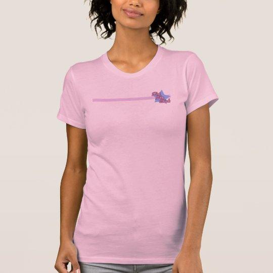 Camiseta rosada y azul del polluelo de la bici de
