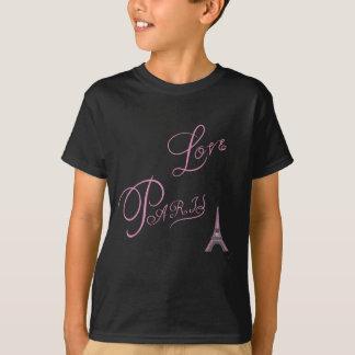 Camiseta Rosado-Amor-París-Eiffel-Torre-Único