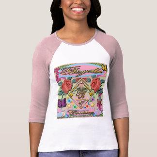 Camiseta Rosas rojos, mariposas, flores 3/4 raglán de la