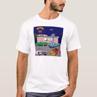 Camiseta ruta 66 del comensal de los años 50 y coches del