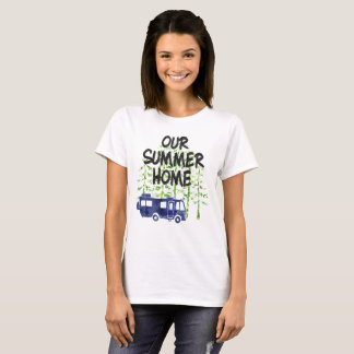 Camiseta Rv que acampa nuestra acuarela de la casa de
