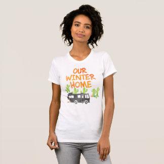 Camiseta Rv que acampa nuestra acuarela del hogar del