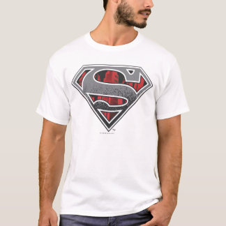 Camiseta S-Escudo logotipo gris y rojo del   del