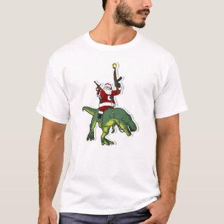 Camiseta Santa que monta un T-Rex