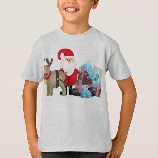 Camiseta Santa y su reno con los regalos