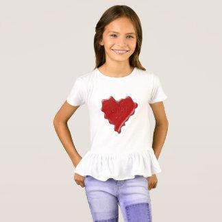Camiseta Sarah. Sello rojo de la cera del corazón con Sarah