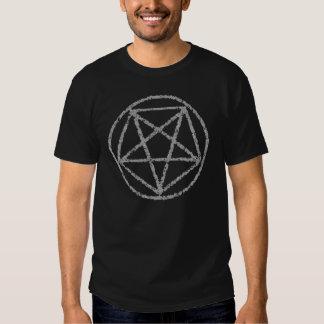 Camiseta satánica descolorada del símbolo del